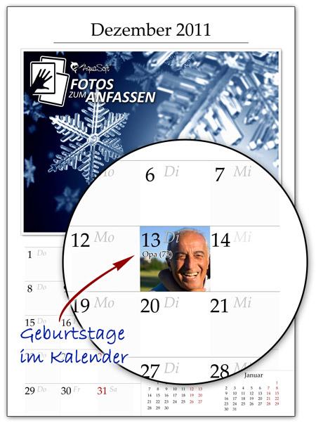 Kalender mit persönlichen Geburtstagen und Terminen