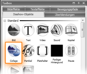 Das Collage-Objekt in der Toolbox