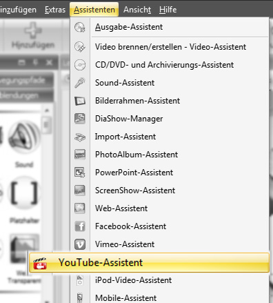 YouTube-Assistent in der DiaShow