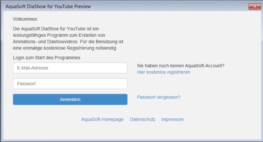 Registrierung mit E-Mail-Adresse bei DiaShow für YouTube