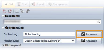 """Schalter """"Anpassen"""" im Fenster """"Eigenschaften"""", hiermit kann man die Überblendung anpassen."""