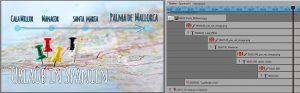 Reiserouten-Animation mit Pfeil und Punkten