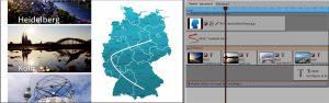 Bildbandeffekt mit Karte und Reiseroutena-Animation