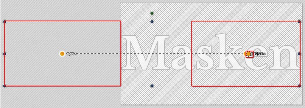 Kameraschwenk über Textmaske mit starkem Zoom am Ende