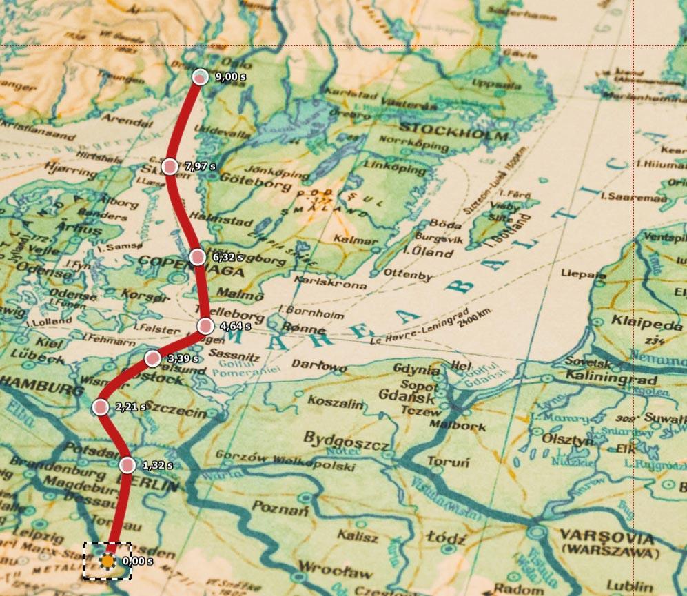 Marken für die Routenanimation auf der Landkarte