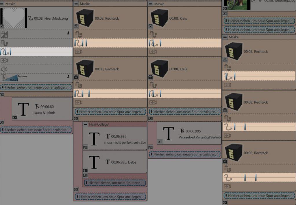 Keyframe-Spuren für die Bewegungsmarken der Masken in Stages 10