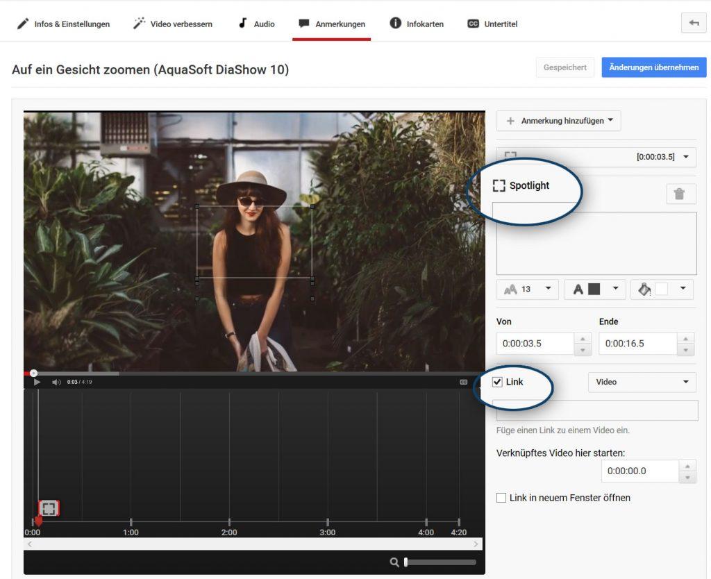 """Bereiche kann man direkt bei YouTube über """"Anmerkungen"""" klickbar machen"""