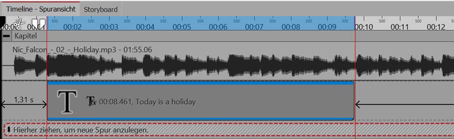 Die ersten Worte des Songtexts erklingen zwischen den zwei roten Linien.