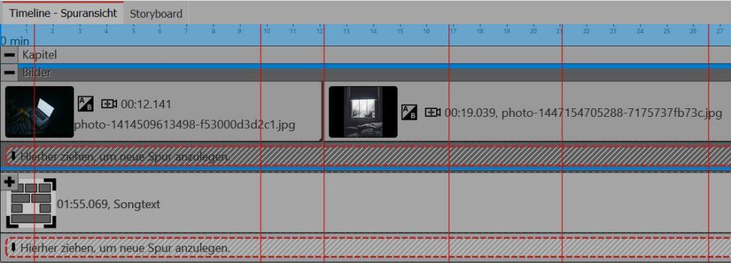 Unterkapitel für Songtext und Bilder - alles für sich zu einem Musikvideo zusammen.