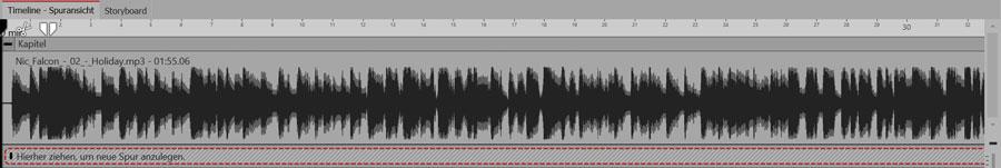 Der Song befindet sich in einem Kapitel. Hier kann man dann Textspuren für den Songtext anlegen.