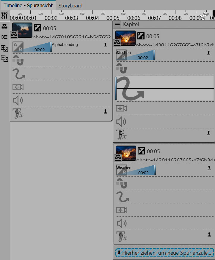 Aufbau in der Timeline von Stages 10