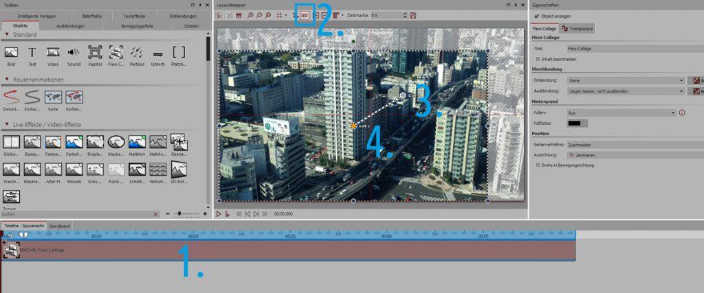 Auf die Flexi-Collage, die die Einzelbilder enthält, wird ein Kameraschwenk gelegt.