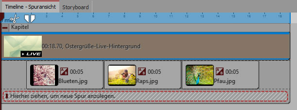 Live-Hintergründe: So kann die Anordnung in der Timeline aussehen
