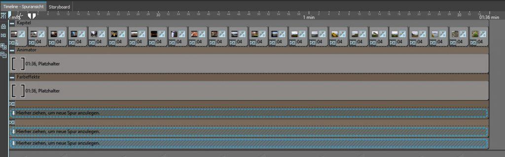 Musikvideo erstellen - Timelineansicht mit Animator, Farbeffekt und Platzhaltern
