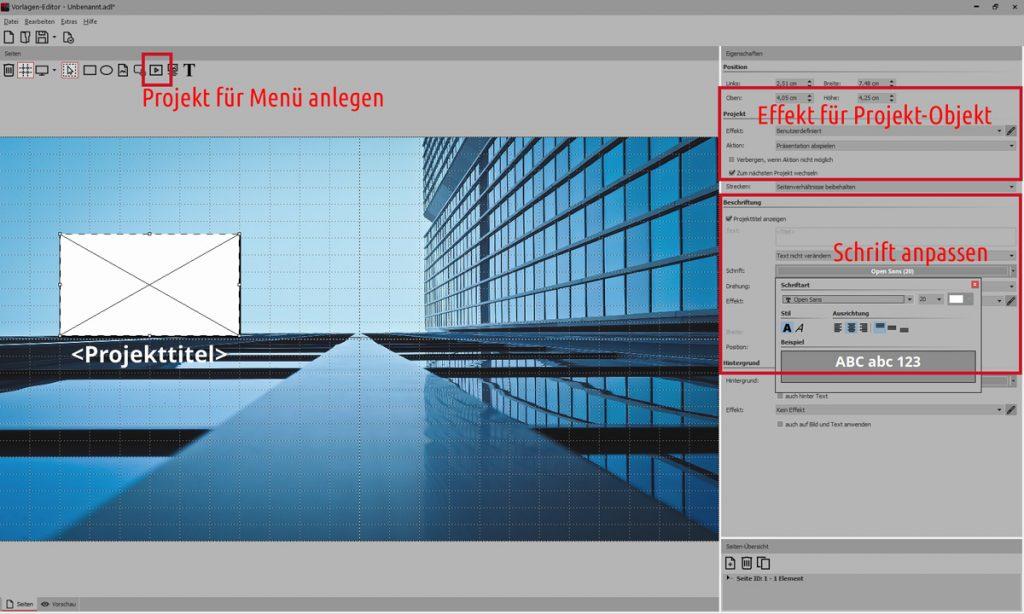 Präsentation mit Menü - Menü erstellen im Vorlagen-Editor