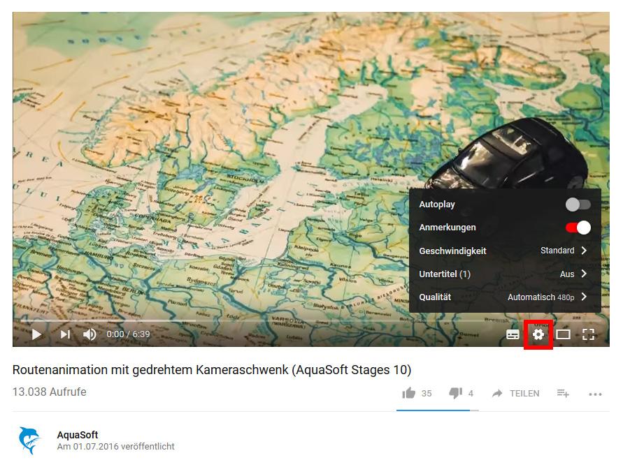 AquaSoft-Videos auf Youtube - mögliche Einstellungen