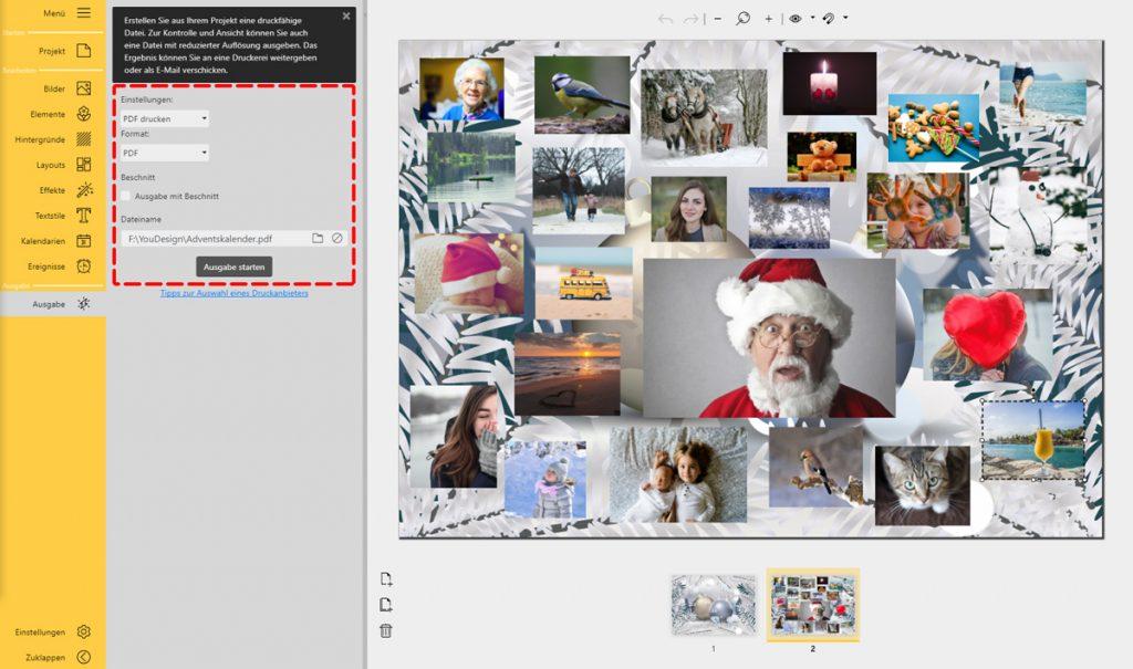 Adventskalender mit Fotos selbst gestalten: Ausgabeeinstellungen für das Drucken