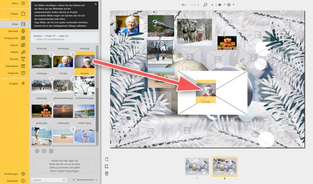 Adventskalender mit Fotos selbst gestalten: Bilder einfügen