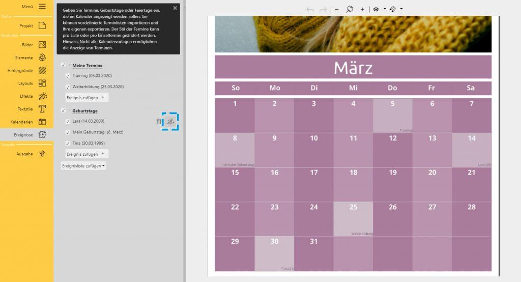Fotokalender erstellen: Aussehen von eigenen Terminen verändern