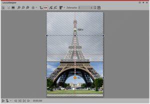 Hochformat-Foto: Im Layoutdesigner wird die Start- und Endmarke für den Kameraschwenk gesetzt.